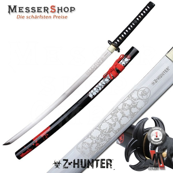 Z-Hunter Katana Black/Red Carbon Steel - white skull
