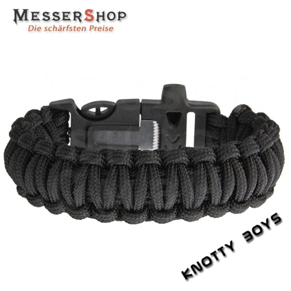 Knotty Boys Tactical Survival Bracelet Black mit Firestarter