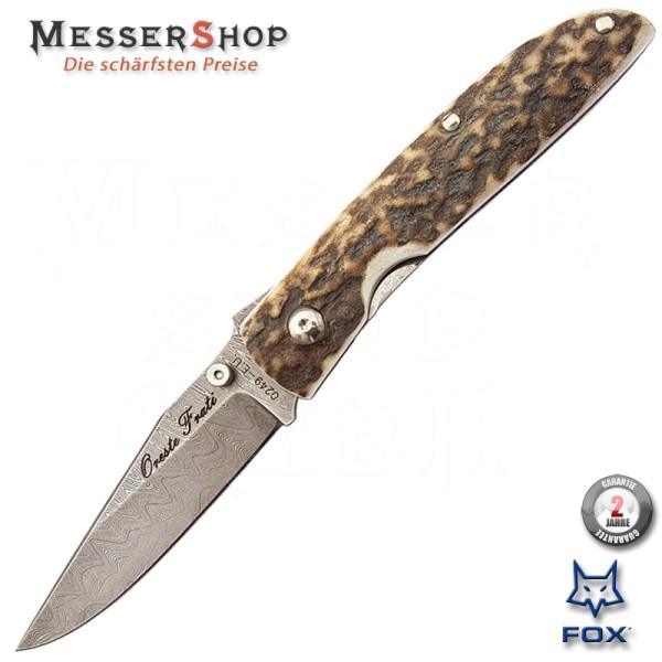 Fox Damast-Einhandnmesser mit Hirschhornschalen