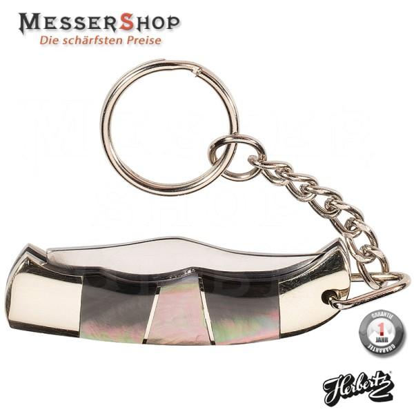 Herbertz Mini-Taschenmesser mit Neusilberbacken, Perlmutt und Neusilbereinlagen