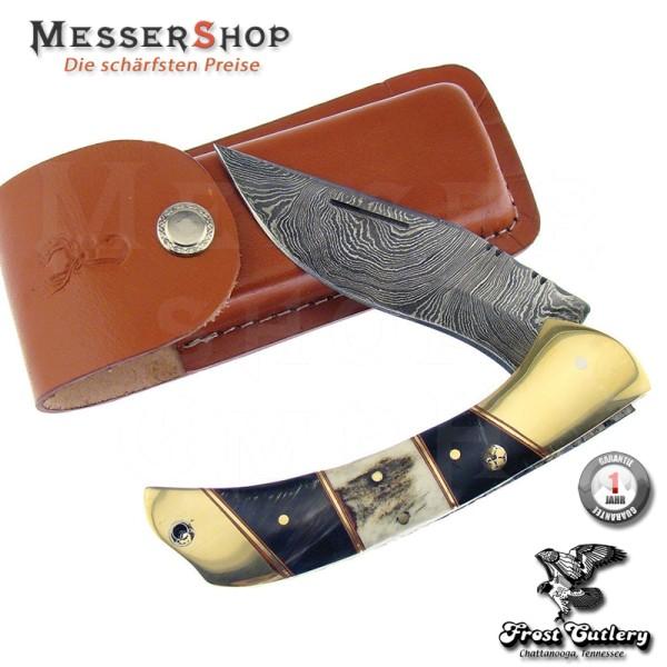 Frost Cutlery Taschenmesser Damascus Folder Stag