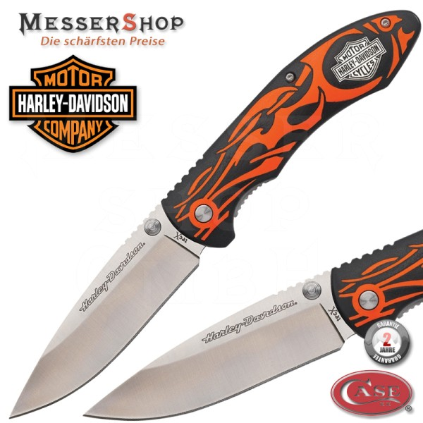 Case Einhandmesser Harley Davidson Tex X Linerlock Orange