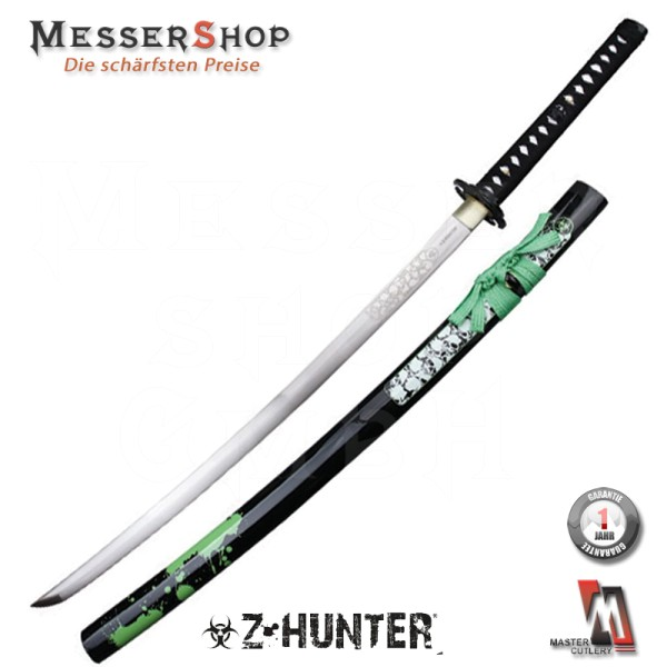 Z-Hunter Katana Black/Green Carbon Steel - white skull