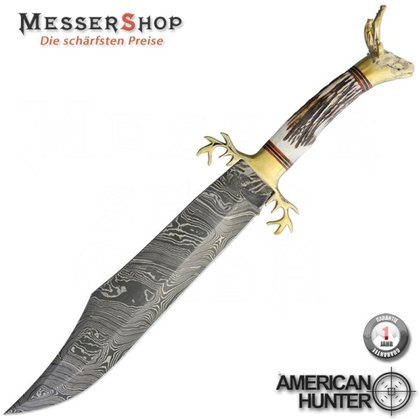 American Hunter Damascus Golden Stag Bowie