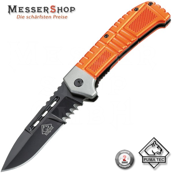 Puma TEC Einhandmesser orange mit Teilsägezahnung